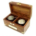 Mini Tankards, Brass in Wooden Box with Engraved Plaque, ref MTPR1